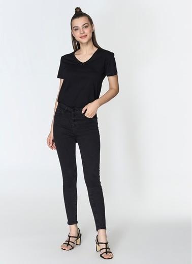 Loves You Düğmeli Yüksek Bel Jean Pantolon Siyah